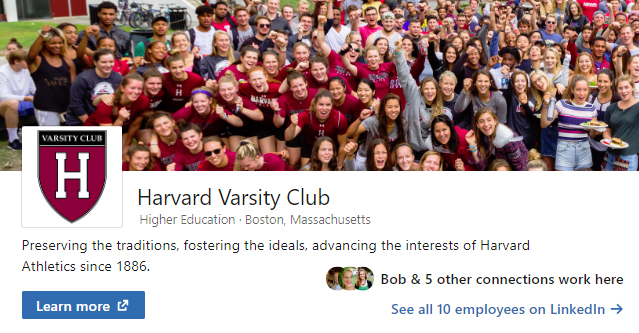 Follow the Harvard Varsity Club on LinkedIn